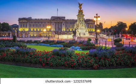 Panorama of Buckingham Palace in London, United Kingdom.