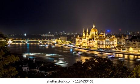 Panorama of Budapest city skyline at night