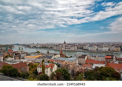 Panorama of Budapest from the Fisherman's bastion with view of the Danube river
