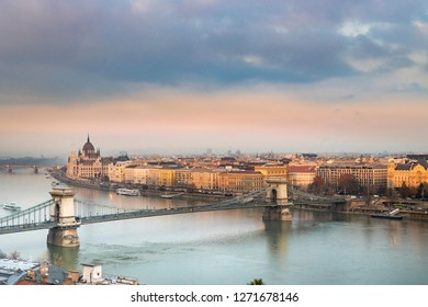 Panorama of Budapest, Hungary, with the Chain Bridge during winter time