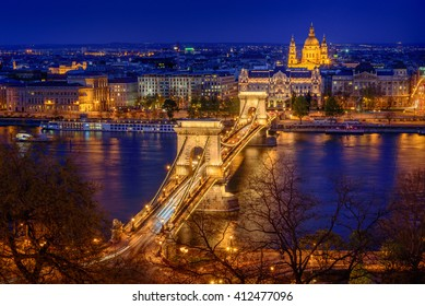 Panorama of Budapest, Hungary, with the Chain Bridge in twilight