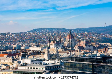 Panorama of Budapest from St. Stephan Basilica, Hungary