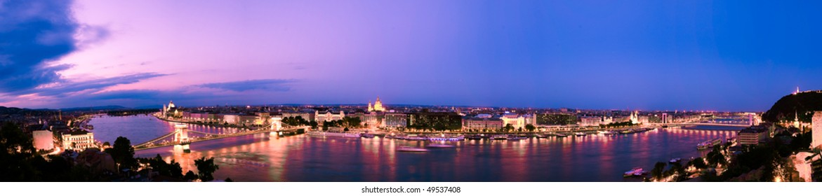 Panorama of Budapest in the sunset