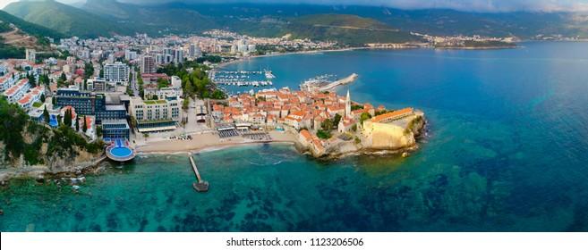 Panorama of Budva shot by a quadrocopter. Montenegro.