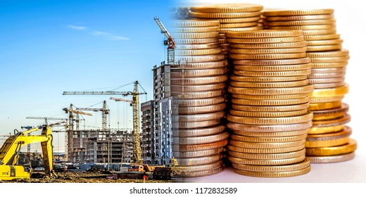 Panorama of the building in the background money . The concept of changes in housing prices