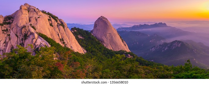 Panorama Bukhansan mountain in Seoul at Sunrise in the Morning in Bukhansan National Park, South Korea