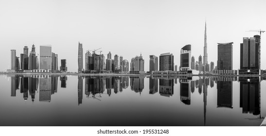 A panorama of Business Bay, taken just after sunrise when the wind and water was still calm.