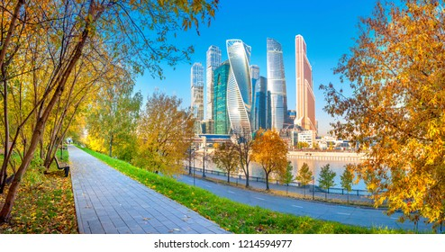 Panorama of the business center, modern skyscrapers of downtown Moscow, on a sunny autumn day