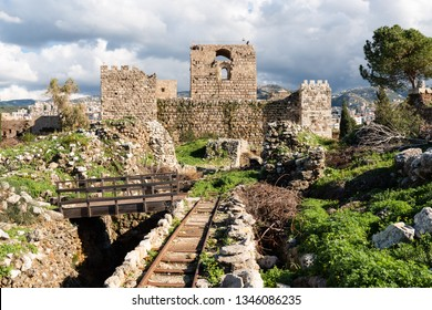 Panorama of Byblos archeological site with Phoenician, Roman and Crusader temple and fort ruins.