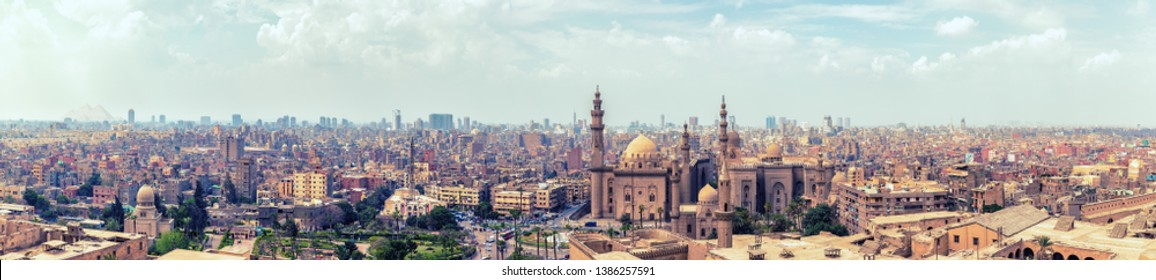 Panorama of the Cairo Citadel and the city skyline, aerial view