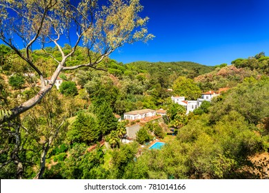Panorama of Caldas de Monchique, mountainous region of Algarve, Portugal