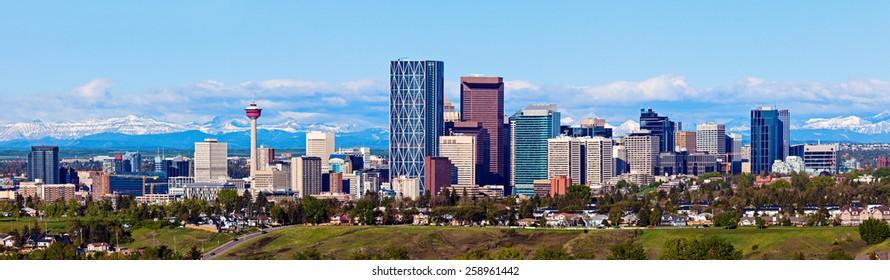 Panorama of Calgary and Rocky Mountains. Calgary, Alberta, USA