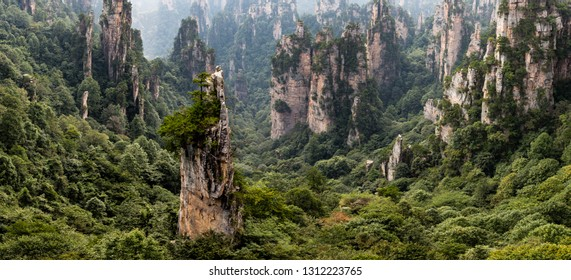 "The panorama called ""gathering soldiers"" in Tianzi Mountain area in the Wulingyuan National Park, Zhangjiajie, Hunan, China. Wulingyuan National park was the inspiration for the movie Avatar"