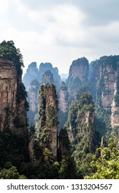 "The panorama of the so called ""black forest"" in Yuanjiajie area in the Wulingyuan National Park, Zhangjiajie, Hunan, China. Wulingyuan National park was the inspiration for the movie Avatar"