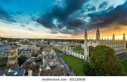 Panorama of Cambridge with beautiful sunset sky, UK