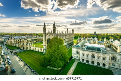Panorama of Cambridge and Kings Collage with dramatic sky, UK