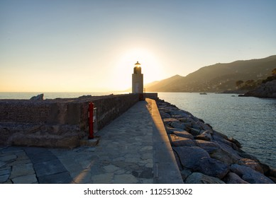 Panorama of Camogli, pier and lighthouse - Liguria - Italy