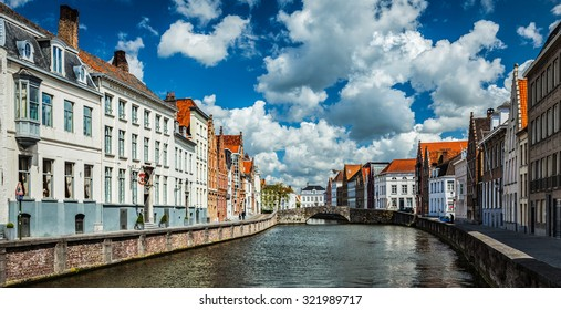 Panorama of canal and old houses in Bruges (Brugge), Belgium