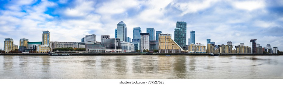 Panorama of Canary Wharf business district