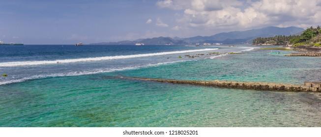Panorama of the Candidasa coast on Bali, Indonesia