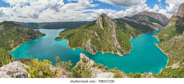 Panorama of Canelles reservoir in La Noguera, Lleida province, Catalonia, Spain