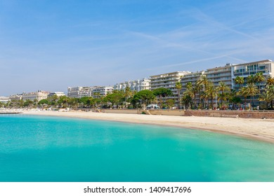 Panorama of Cannes, Cote d'Azur, France, South Europe. Nice city and luxury resort of French riviera. Famous tourist destination with nice beach and Promenade de la Croisette on Mediterranean sea