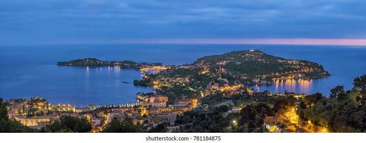 Panorama of Cape Ferrat at dusk, French Riviera, France
