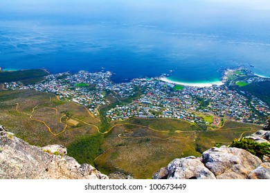 Panorama of Cape Town city (South Africa), with a coastline on a clear day