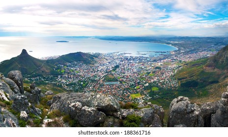 Panorama of Cape Town from the top of Table Mountain