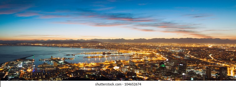 Panorama of Cape Town Waterfront and Downtown. Early rising in the city. (South Africa)