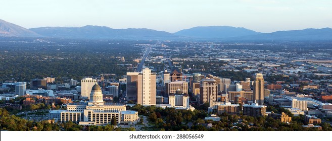 Panorama of the capital of Utah in Salt Lake City in the evening sun