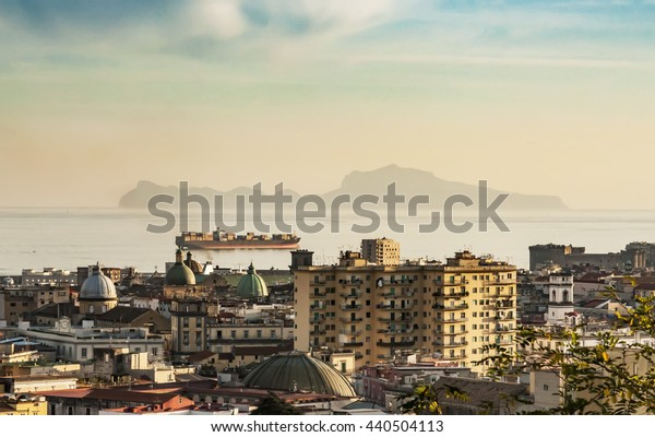 Panorama of the Capri Island and the city of Naples, Italy