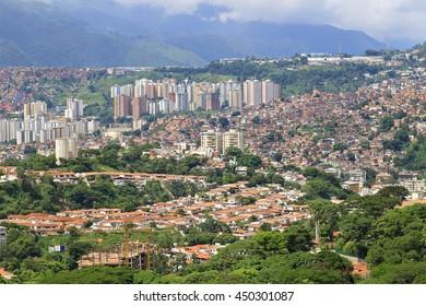 Panorama of Caracas city, capital city of Venezuela. Slums are seen on the hillside.
