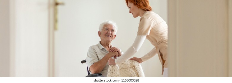 Panorama of caregiver supporting smiling disabled senior man in the wheelchair