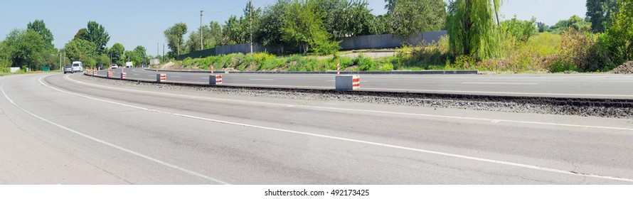 Panorama of  carriageway of the motorway with new asphalt layer during of overhaul