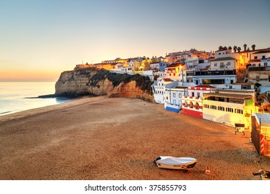 A panorama of Carvoeiro at the dusk in Algarve region, Portugal, Europe