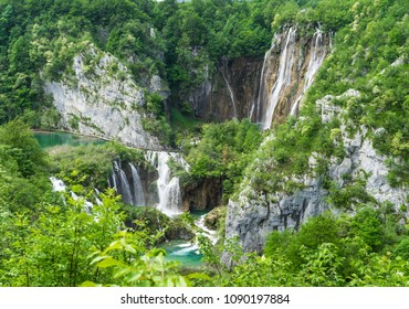 Panorama of the cascade of waterfalls in Plitvice Lakes National Park in Croatia