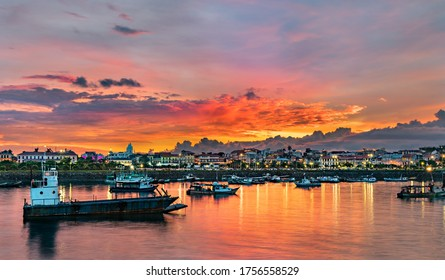 Panorama of Casco Viejo, the historic district of Panama City at sunset. UNESCO world heritage in Central America