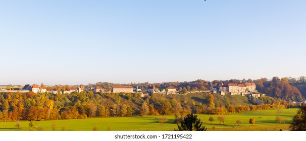 Panorama of castle Burghausen in fall