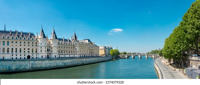 Panorama of Castle Conciergerie - former royal palace and prison. Conciergerie located on the west of the Cite Island and today it is part of larger complex known as Palais de Justice. Paris, Franc
