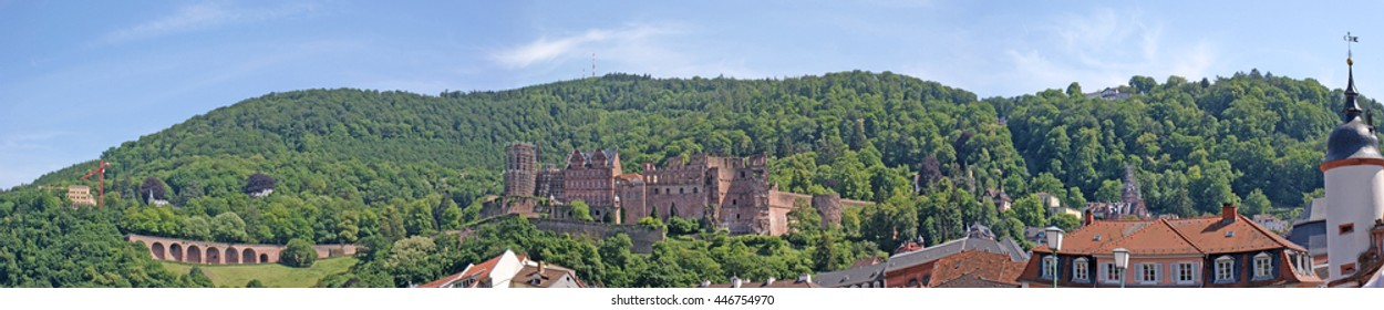Panorama from the Castle ruins Heidelberg in Germany, green hills, blue sky and white clouds/Castle ruins of Heidelberg