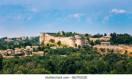 Panorama of Castle Villeneuve les Avignon, France. Fort St Andre.