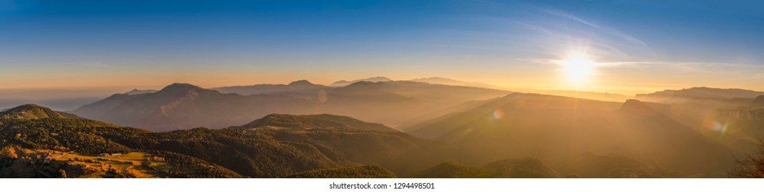 Panorama Catalan Pyrenees on sunset