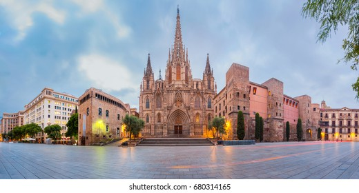 Panorama of Cathedral of the Holy Cross and Saint Eulalia during morning blue hour, Barri Gothic Quarter in Barcelona, Catalonia, Spain