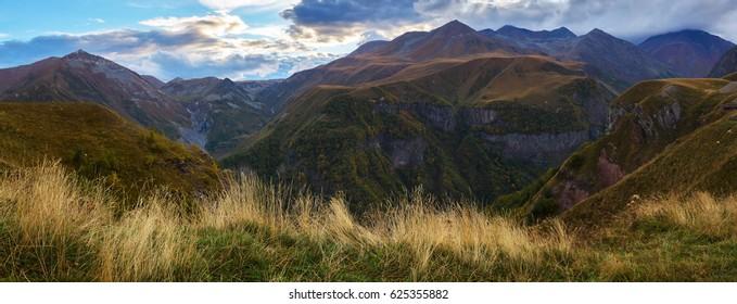 Panorama of Caucasus mountains in Gudauri, Georgia on sunset