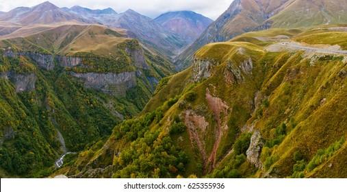 Panorama of Caucasus Mountains in Gudauri, Georgia