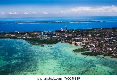 Panorama of Cebu city from airplane. Philippines. Cebu is the Philippines second most significant metropolitan centre and main domestic shipping port.