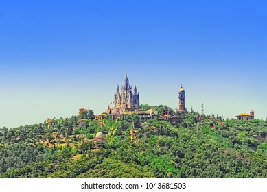 Panorama of the center of Barcelona, temple on top of mount Tibidabo-temple of the Sacred Heart. Catalonia. Spain.