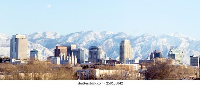 Panorama center of the capital of Utah - Salt Lake City