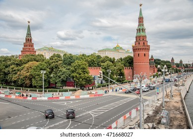 panorama of central Moscow streets and gardens of the Kremlin on Red Square in Moscow the capital of Russia